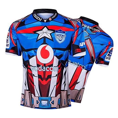 Herren Rugby-Trikot, 2019 Bulls Heim/Auswärts Super Hero Edition Atmungsaktives Rugby-Trainings-T-Shirt, Unterstützer-Fußball-T-Shirt Sport Top-Blue-S