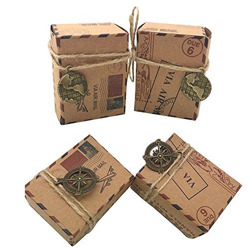 Awtlife, scatole per confetti in carta da pacco naturale, stile vintage ispirato alla posta aerea, confezione da 100 pezzi