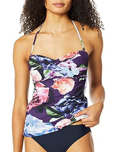 La Blanca Women's Bandeau Tankini Swimsuit Top, Plum // Bloom Field, 16