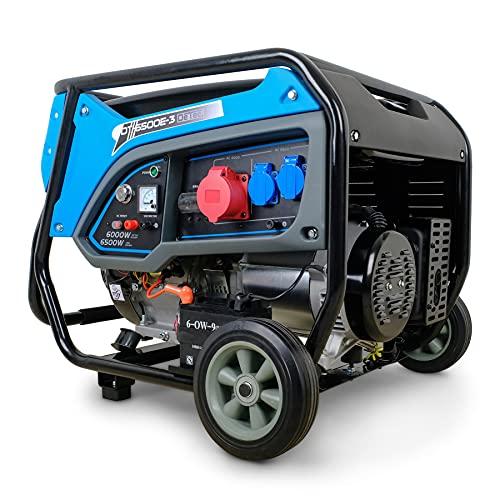 DeTec. DT-6500E-3 Benzin Generator | Stromerzeuger mit 6 kW 230 V | Notstromaggregat für (Not-) Stromversorgung | Starkstrom