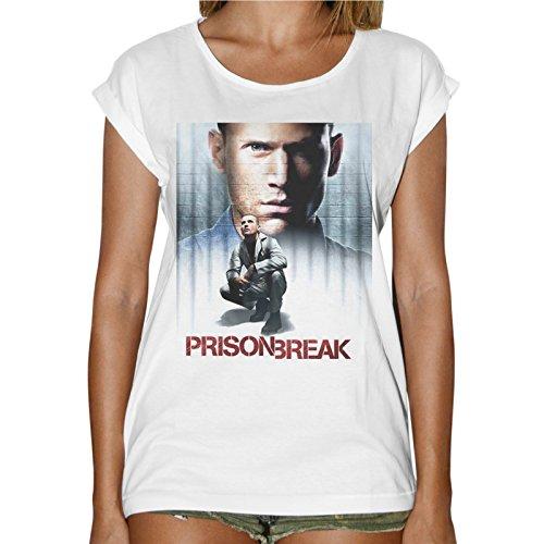 Camiseta Mujer Fashion Prison Break Serie TV Prigione–Blanco