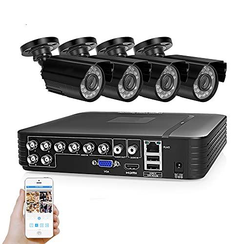 MWEIMA AHD 1080p Cámara De Seguridad Al Aire Libre,CCTV Kit De Grabadora con 4pcs HD 1200TVL Actualice Las Cámaras De Vigilancia A Domicilio,Impermeable,Visión Nocturna