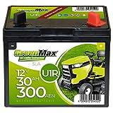 GreenMax U1R (Pluspol rechts) Garden Power Rasentraktor-Batterie 12V 30Ah 300A Starterbatterie für...