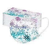 Aujelly 50 Stück Weihnachten Einweg Mundschutz Multifunktionstuch für Erwachsene Atmungsaktiv Bandana Face Maske 3-lagig Staubdicht Mund-Nasen Bedeckung Halstuch Schals (Schneeflocke A)