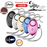 5 Pack 140DB Personal Security Alarm, Safesound Personal Alarm Keychain with Mini Led