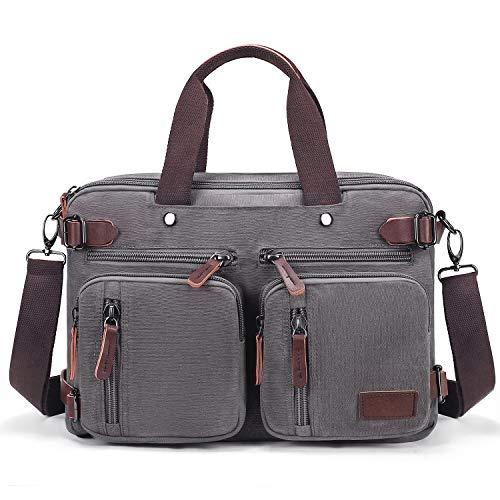 Canvas laptoptas, schoudertas, aktetas voor heren, 14 inch laptop, rugzak, schoudertas, messengertas, business backpack, multifunctionele laptoptas voor school, reizen, vrouwen, mannen, grijs