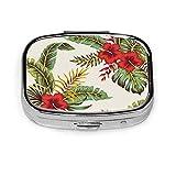 Pastillero cuadrado personalizado verde tropical vintage rojo hibisco floral verde