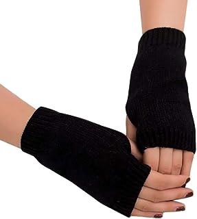 f4c3347a6eae0 BZLine - Gants thermiques d'hiver demi-doigts - Couleur unie Mitaines en  laine