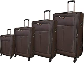 Track Luggage Trolley Bags 4 Pcs Set, Dark Brown