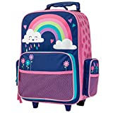 Stephen Joseph Kids' Little Girls Classic Rolling Luggage, Rainbow
