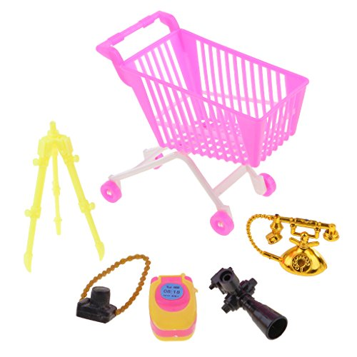 5 Pz Giocattoli Shopping Supermarcato Carrello Acquisto Macchina Fotografica Per Aziona Figura Plastica Multicolore