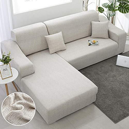 SDFWEWQ Funda de Sofá Elástica 1 2 3 4 Plazas Suave Cómoda Antideslizante Lavable en Lavadora Impreso Fundas para Sofa,Decorativas Fundas de Sofa para Sala de Estar (4 Plazas 235-300 cm,Beige)
