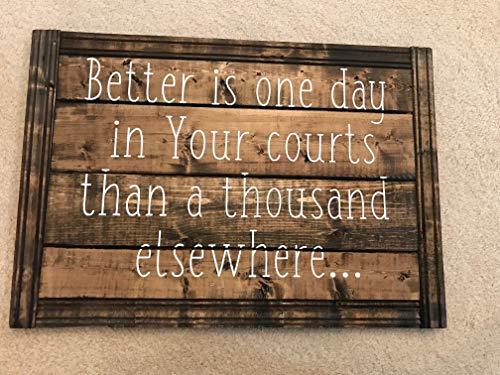 Atwo3242de Panneau en Bois « Better is One Day in Your Courts » pour Chambre de bébé ou Chambre d'enfant