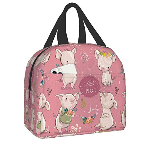 PrelerDIY Pigs Lunch Box - Insulated Lunch Bags for Women/Men Floral Pink Reusable Lunch Tote Bags, Perfect for Office/Camping/Hiking/Picnic/Beach/Travel