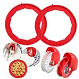 Baking Set: Silicone pie crust mold shield set of 4. Includes: 2 Pcs pie shield protectors, 1 Pcs pastry wheel cutter and 1Pcs decorator. It's a great choice for baking tools. Temperature resistance: Silicone pizza shield can withstand -40 ~ 230 degr...