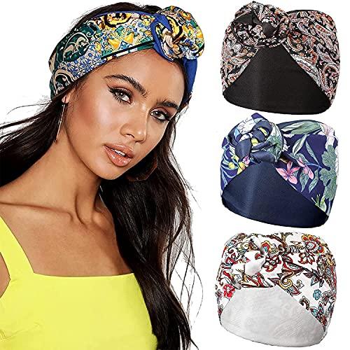 Diadema ancha con turbante - WELROD Diadema de alambre floral de 3 piezas Banda para el cabello Sombreros de turbante para mujer Pañuelos Diadema ancha ajustable boho (Set #4)