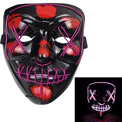 molezu LED Light Up Purge Máscara de miedo Novedad Halloween Disfraz de fiesta espeluznante Props, Safe EL Wire PVC DJs Mask(púrpura)