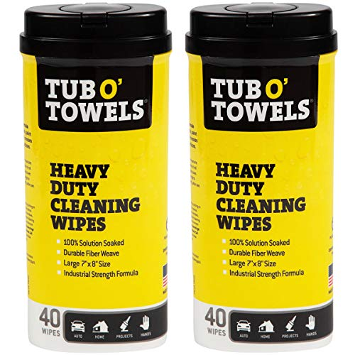 Tub O Towels Heavy-Duty Multi-Surface Cleaning Wipes, Citrus, 7 X 8 Inch, 2 Count, White