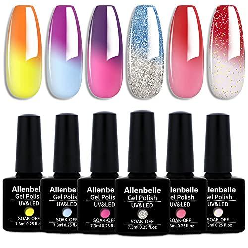 Allenbelle Smalto Semipermanente Camaleonte Nail Polish UV LED Gel Unghie (Kit di 6 pcs 7.3ML/pc) T6003