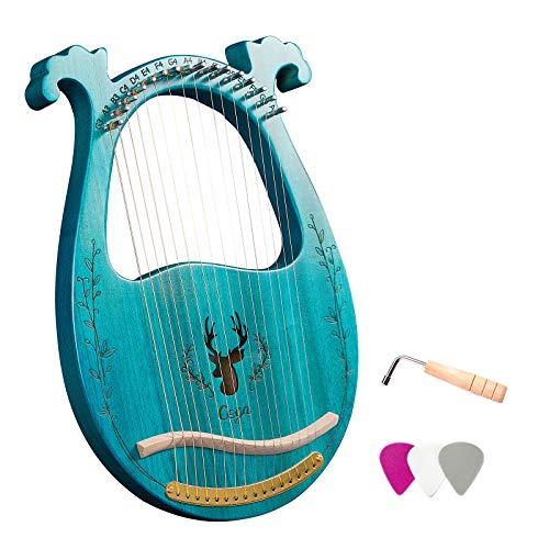 16-saitiges Lyra Harp Resonance Box Saiteninstrument aus Holz mit Stimmschlüssel 3 Stück Picks