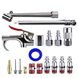 Tool Daily Air Compressor Accessory Kit, 18 Piece Air Hose Fitting with Gun, Nozzle, Tire Gauge, Air Tool Set, 1/4 Inch NPT