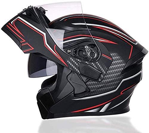 LAMZH Casco de motocicleta portátil para hombres y mujeres, casco de cuatro estaciones universal antiempañamiento doble espejo casco, H, grande, protección