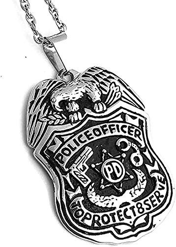 ZJJLWL Co.,ltd Collar Hombre S Collar Acero Inoxidable Oficial de policía Escudo Protección Superior PD Oficial Colgante Collar Regalo para Mujeres Hombres Regalo