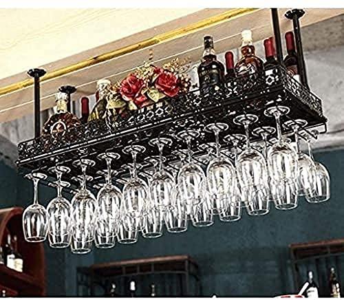 Porta-copos de teto para vinho Porta-vinhos, bar, restaurante, porta-copos de vinho, suporte para porta-hastes para teto doméstico Preto Altura ajustável da prateleira de decoração industria
