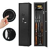 Pataku Rifle Safe 4 Gun Storage Cabinet for Home Long Gun Safe with Removable Layer for Pistols/Ammo, Digital Keypad, Black