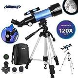 Aomekie Télescope Astronomique pour Adultes 70mm Portable Télescope Réfracteur avec Adaptateur Téléphonique 10X Sac à Dos Filtre de Lune Trépied Ajustable et Barlow 3X