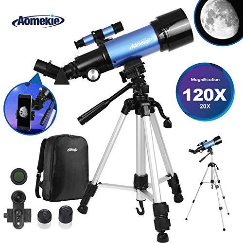 Aomekie Telescopio Astronomico Bambini 70mm Telescopio Rifrattore con Treppiede Regolabile Adattatore per Smartphone Lente Barlow 3X e Mirino per Principianti (2))
