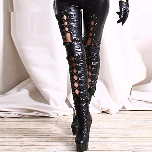 Leder-Dessous für Damen, Übergröße, schwarz, sexy Leder-Leggings, Bandage, exotische Frauen, Kunstleder-Legging, Skinny Schnürung, Pantalon, Gothic-Hose, XL
