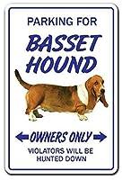 Basset Hound Vet Pet Puppy Kennel 金属板ブリキ看板警告サイン注意サイン表示パネル情報サイン金属安全サイン