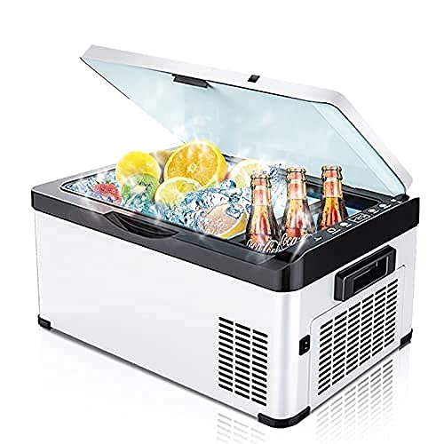 WECDS 20L Car Auto DC12V24V Portátil Camping Picnic Al Aire Libre RV Viaje Uso en el hogar Compresor Refrigerador Congelador Profundo Enfriador Caja Refrigerador (Gris)