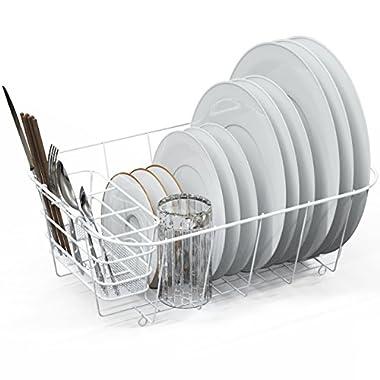 Dish Drying Rack Drainer Basket w/Utensil Caddy, White