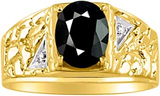 RYLOS Mens Nugget Ring with Oval Shape Gemstone & Genuine Sparkling Diamonds in 14K Yellow Gold Plated Silver .925-9X7MM C...