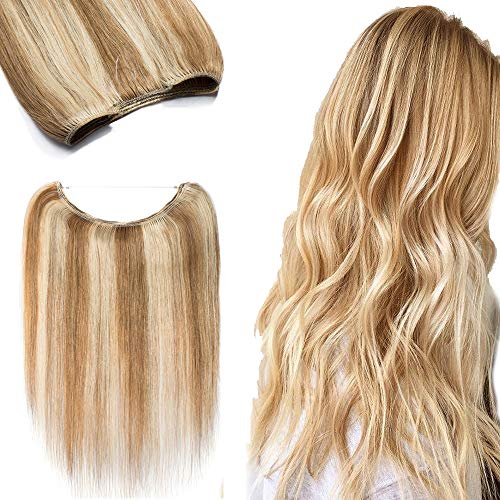 16'-22' Human Hair Hidden Wire Extensions Thin Highlight Secret Fish Line Hair Extensions Long Straight No Clips No Glue Hairpieces Invisible 18' 65g #12/613 Golden Brown Mix Bleach Blonde