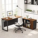 Tribesigns L Shaped Desk, 55 inches Computer Desk Computer Table with Storage Shelves, Gaming Office Executive Table Business Furniture with File Cabinet Combo, Dark Walnut + Steel Gray Legs