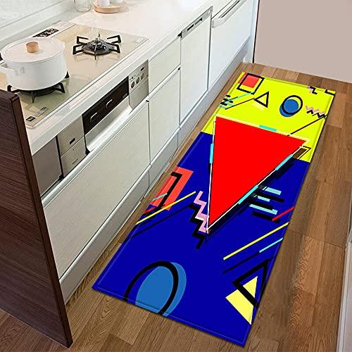 Felpudo con patrón geométrico 3D para dormitorio, entrada, decoración del suelo, sala de estar, baño, alfombra antideslizante A9, 50 x 160 cm