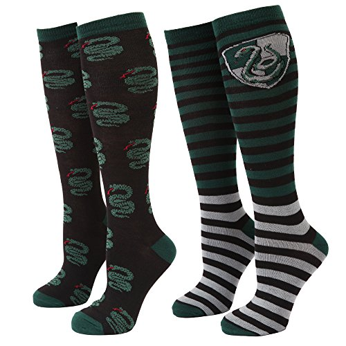 Harry Potter gestreifte Slytherin Serpent Damen 2er-Pack Kniestrümpfe