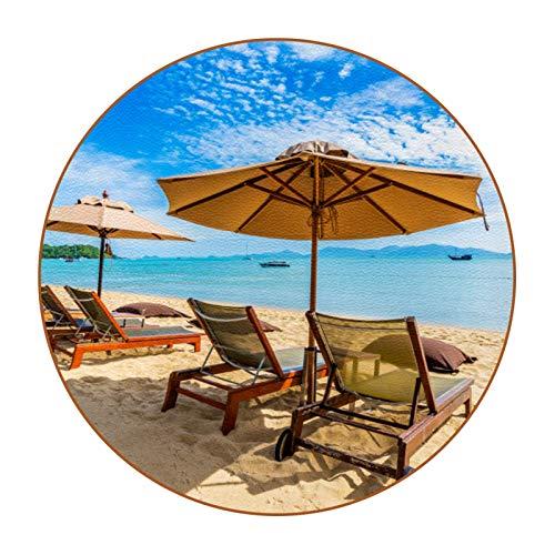 Juego de 6 posavasos coloridos, alfombrilla de protección de mesa para tazas y tazas, oficina, cocina, hermosa playa tropical cocotero, sombrilla