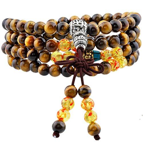 Shanxing 108 Perlen Edelstein Yoga Armband Schmuck Buddha Buddhistische Tibetische Gebetskette Mala Kette Halskette,Tigerauge & Bernstein Perlen