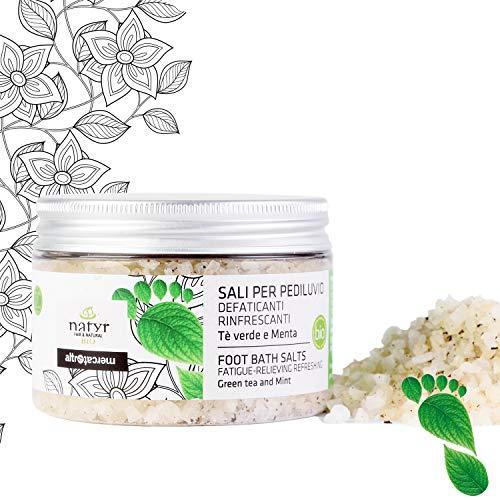 Natyr Bio Fußbadesalz 150 g - Hochwertiges Salz zur Fußpflege mit Zitronengrasöl, grünem Tee und Minze