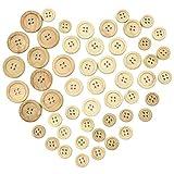 50 botones redondos de madera natural de tamaño mixto para