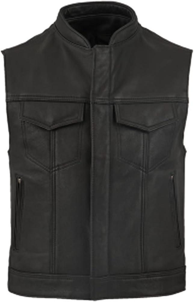 Sleekhides Men's Fashion Biker Slim Fit Leather Stylish Vest