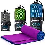 Toalla microfibra – en todos los tamaños / 18 colores – ultraligera y compacta – toalla secado rapido – toalla playa microfibra y toalla deporte gimnasio (40x80cm violeta - borde azul oscuro)
