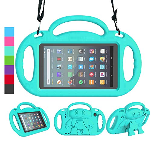 LEDNICEKER Kids Case for All-New Fire 7 Tablet (9th Generation - 2019 Release) - Shockproof Handle Friendly Kids Stand Case with Shoulder Strap for Amazon Fire 7 2019 and 2017 (7 Inch Display), Turquoise