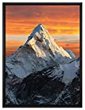 Pixxprint Berge in der Sonne Leinwandbild 80x60 cm im