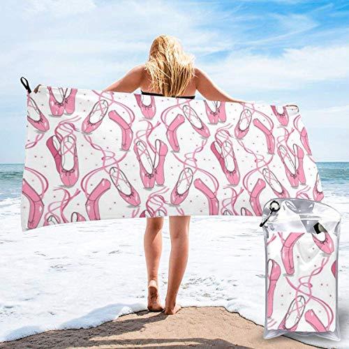 Pink Ballet Shoes Polyester Quick Dry Beach Towel Bath Towel 27.5'x55 Whitemicrofibre towelbeach towelmicrofiber towelbeach towelshair towelquick drying towelhair wraptravel towelmicrofibre hair tow
