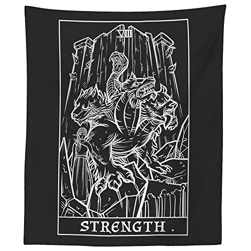The Ghoulish Garb Strength Tarot Card Tapestry (Black & White) - Persephone & Cerberus - Greek Mythology Home Decor Wall Hanging (60' x 50')